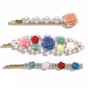 Accessories - [NEW] FLORAL DESIGN PEARL HAIR CLIPS - Set of 3